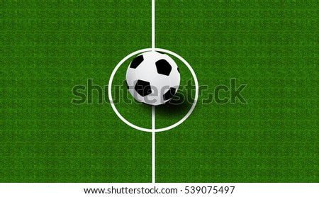 Soccer football in corner on green grass background.