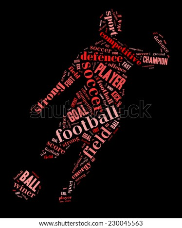 Soccer, football player shape word cloud