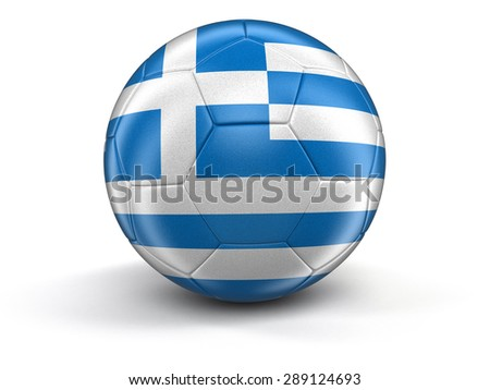 Soccer football with Greek flag. Image with clipping path