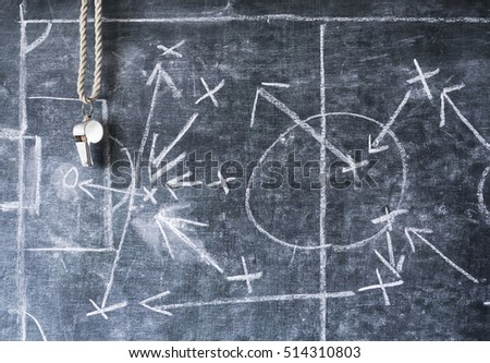 soccer or football  tactical diagram,with silver whistle of coach or referee