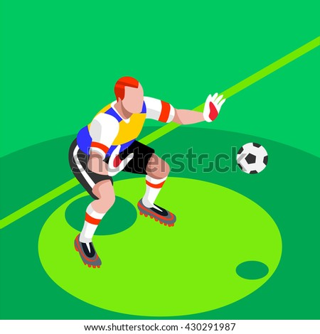 Soccer Player. Athlete Football Goalkeeper Block World Soccer Championship. Concept of olympics Spirit.Football Match International Competition.Euro European Cup insight. Copa America Cup Illustration