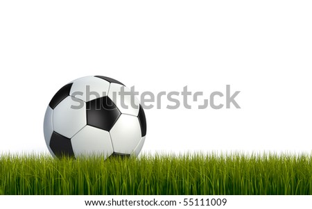 Soccerball on the green grass