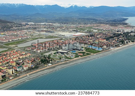 SOCHI, ADLER, RUSSIA - MAR 02, 2014: Modern hotel complexes on Olympic Prospekt near Olympic Park in Adlersky District, Krasnodar Krai, top view