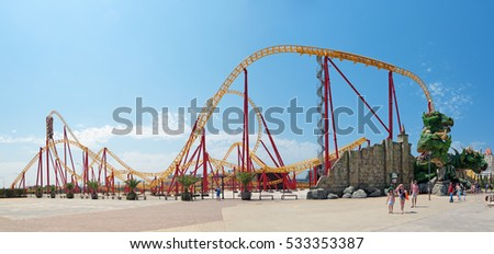 "SOCHI, KRASNODAR KRAI, RUSSIA - JUL 31, 2015: ""Sochi Park"" - a theme amusement park in the city, attraction Roller coaster"