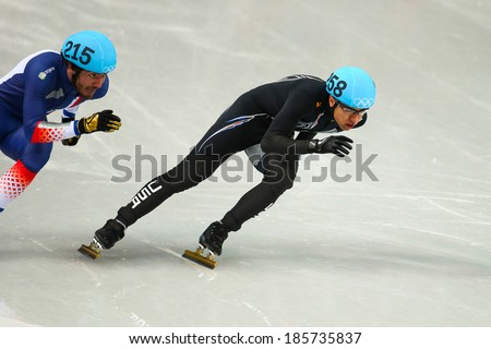 Sochi, RUSSIA - February 18, 2014: J.R. CELSKI (USA), No258 at Men's 500 m Short Track Heats at the Sochi 2014 Olympic Games