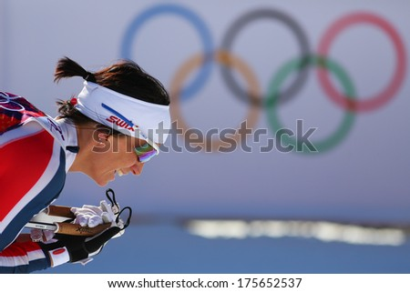 Sochi, RUSSIA -?? February 8, 2014: Marit BJOERGEN wins  in ladies' Skiathlon 7.5 km Classic + 7.5 km Free of Sochi 2014 XXII Olympic Winter Games