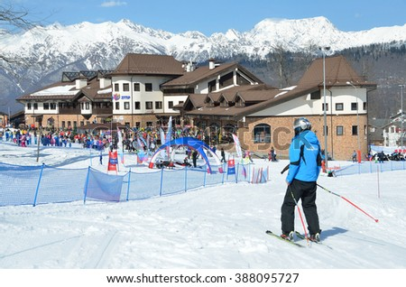 Sochi, Russia, February, 29, 2016,  People skiing on ski resort Roza Khutor