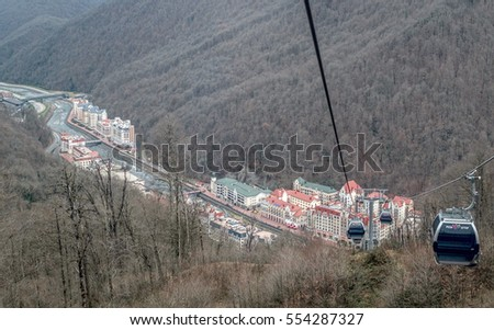 Sochi, Russia - November 29: Roza Khutor village on 29 November, 2016 in Sochi, Russia. It is famous ski and snowboarding resort in Russia.