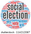 Social election concept in word tag cloud on white background - stock vector