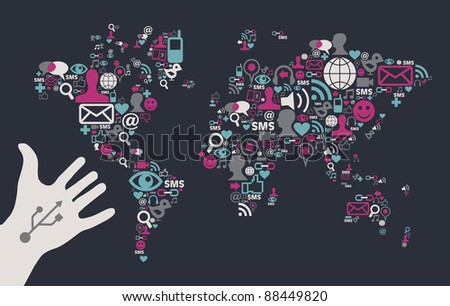 Social media icons set in World Map shape with one USB white hand over black background.