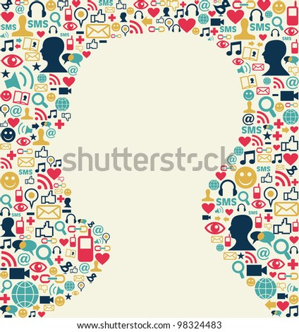 Social media icons texture background with man head silhouette shape.
