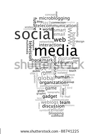 social media info-text graphics and arrangement concept on white background (word clouds)