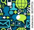 Social media network icons set seamless pattern background in green palette. - stock photo