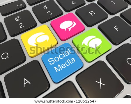 Social media on laptop keyboard. Conceptual image. 3d