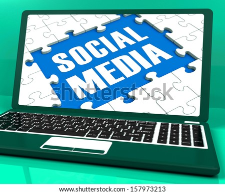 Social Media On Laptop Showing Online Relation