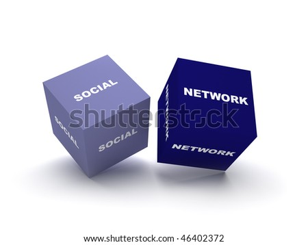 Social network blocks. two blocks spelling social network term on isolated white background