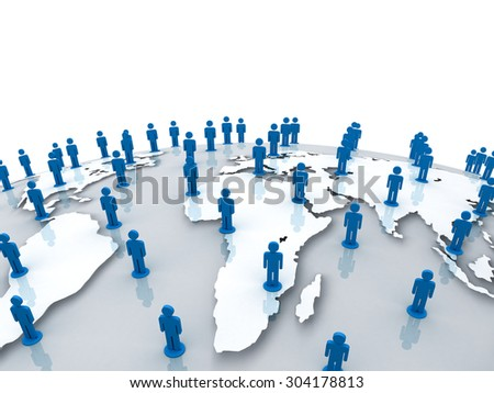 Social network people on world globe map over white background