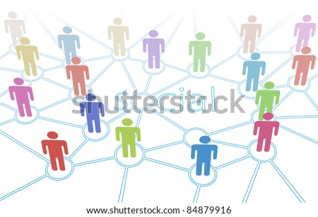 Social word and colorful symbol people join in media network connection nodes