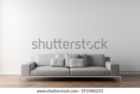 Sofa In Empty Room Parquet On The Floor Put Your Creation This