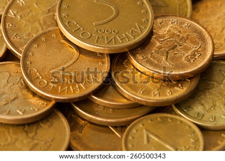 Sofia, Bulgaria - March 15, 2015: Bunch of the smallest Bulgarian coins