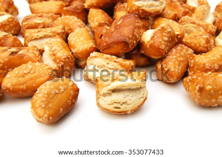Soft Pretzels Nuggets on white background