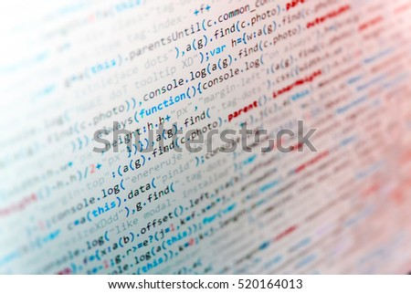 Software abstract background. IT coding on monitor screen. Source code close-up. Web site codes on computer monitor. Abstract screen of software. Script procedure creating.