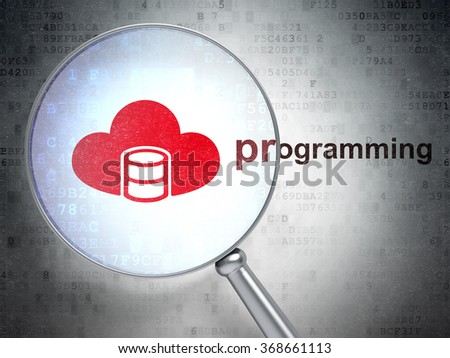 Software concept: Database With Cloud and Programming with optical glass