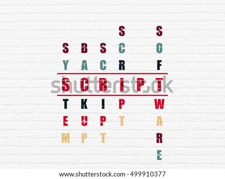 Software concept: Painted red word Script in solving Crossword Puzzle