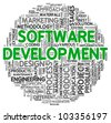 Software development concept in word tag cloud on white background - stock photo