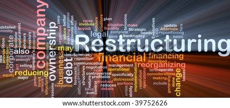 Software package box Word cloud concept illustration of company restructuring