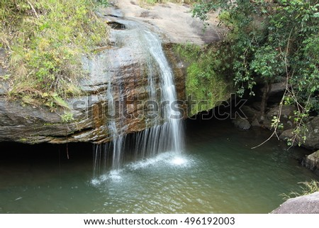 Soi Sawan waterfall in  summer. National Park in Pha Taem Ubon Ratchathani Thailand.