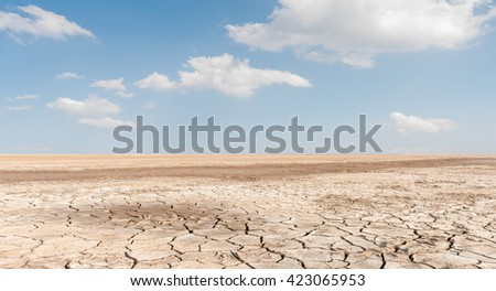Soil drought cracked landscape on blue sky background
