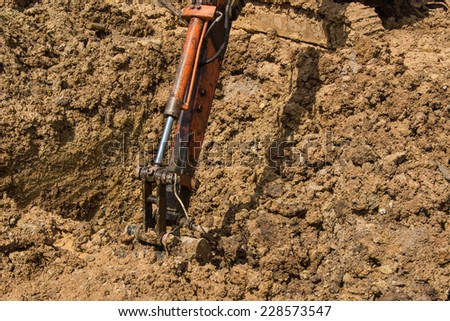 Soil excavation on construction site
