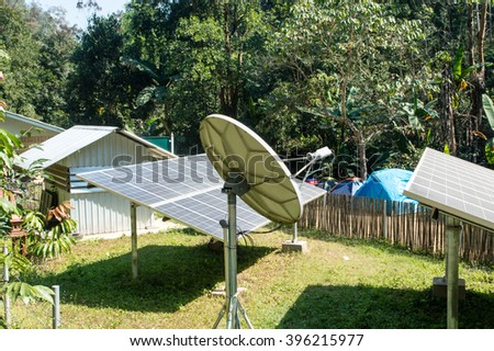 Solar cells electricity for the satellite communication,as school is located on a remote mountain in Thailand.