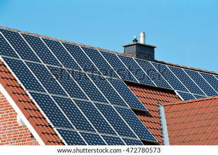Solar cells on a roof of a family home