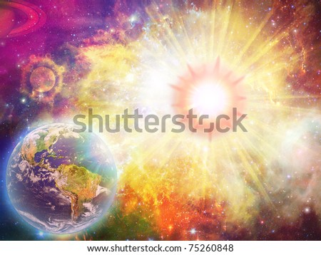 Solar explosion illustration and space fantasy stock photo