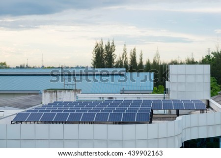 Solar panel system on building roof