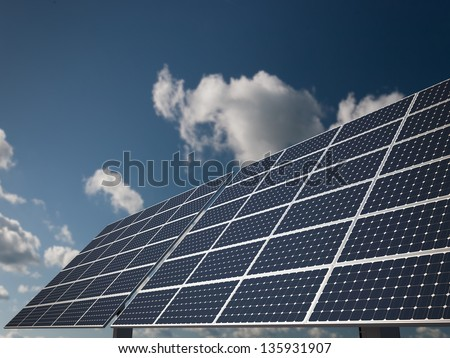 Solar Panel with Moving Coouds: Concept of Alternative and Renewable Energy from Sun