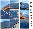 Solar panels collage - stock photo