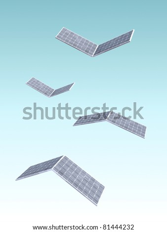 solar panels fly on blue gradient background 3d illustration