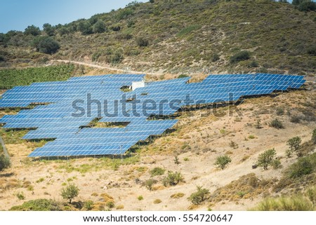 Solar panels in the mountains