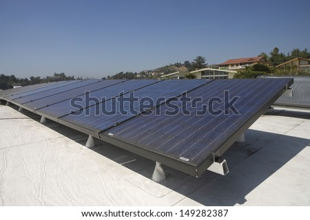 Solar panels on rooftop in Los Angeles; California
