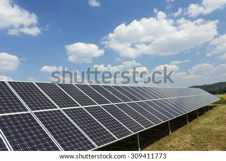 Solar Power Station with the cloudy Sky