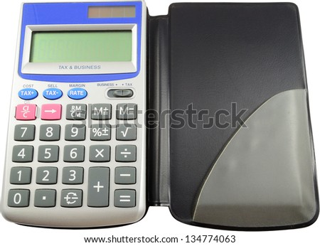 Solar Powered Calculator Isolated On White
