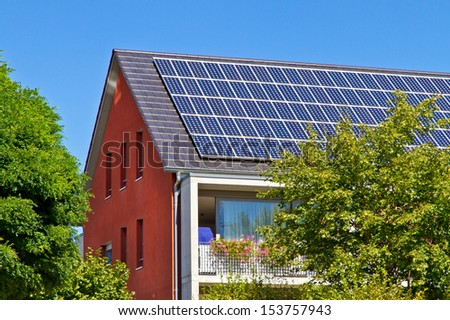 Solar roof on a modern house