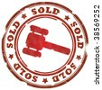 Sold red stamp - stock vector