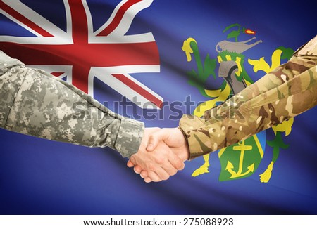 Soldiers shaking hands with flag on background - Pitcairn Island
