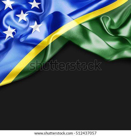 Solomon Islands Country Flag on black background. 3d illustration