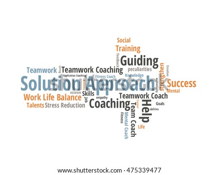 Solution Approach word cloud shaped as a arrow
