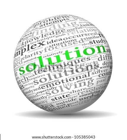 Solution concept in word tag cloud on 3d sphere